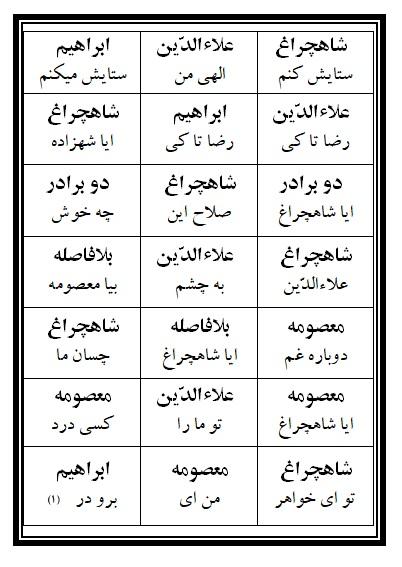 فهرست نسخه تعزیه شاهچراغ (ع) فروشگاه طنین تعزیه قودجان خوانسار