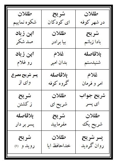 فهرست نسخه تعزیه طفلان مسلم (ع) فروشگاه طنین تعزیه قودجان خوانسار