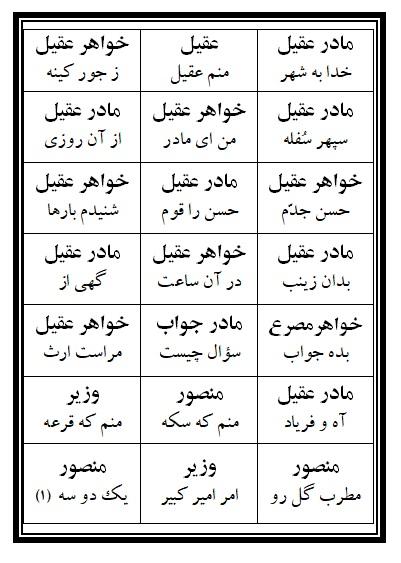 فهرست نسخه تعزیه عقیل (ع) فروشگاه طنین تعزیه قودجان خوانسار